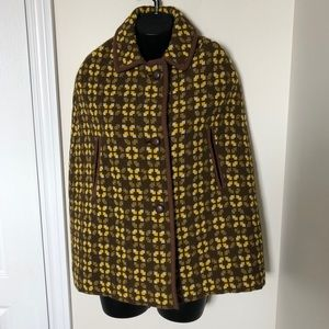 Vintage Jon Ro Fashions Wool Tapestry Cape Coat S